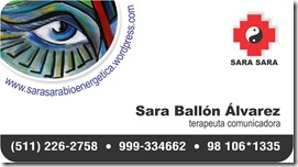 Sara Sara Peru, Sara Ballon Alvarez, terapeuta comunicadora, tarjeta y logo